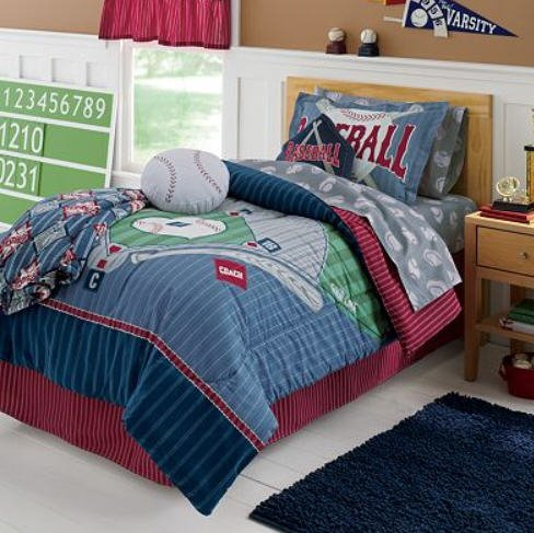 Boys Sports Baseball Diamond Themed Full Comforter Set 8 Piece Bed In A Bag