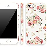 Akna Retro Floral Series Vintage Flower Pattern Semi-soft Back Case for iPhone 5 5S [Classic White]