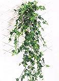 MedianField 【 観葉植物 アイビー 2本 】 壁掛け インテリア アンティーク 雑貨 造花 人工 フェイク 壁掛 グリーン 緑 植物 吊り (2本)