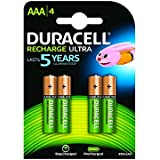 Duracell Rechargeable Rechargeable Ultra AAA HR03 850 mAh AAA Batteries - 4-Pack