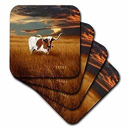 3dRose cst_62229_3 A Texas Longhorn Ceramic Tile Coasters, Set of 4