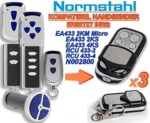 3 X NORMSTAHL EA433 2KM, EA433 2KS, EA433 4KS, RCU433-2, RCU433-4, N002800 Kompatibel Handsender, 433.92Mhz rolling code keyfob