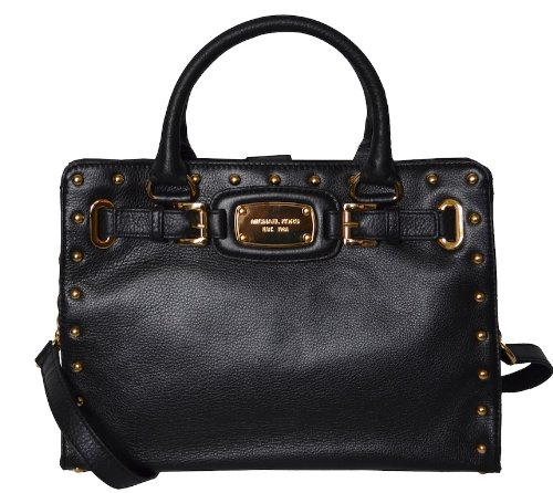 MICHAEL Michael Kors Michael Kors Black Leather Hamilton Rock & Roll Medium EW Tote Satchel Shoulder Bag Handbag