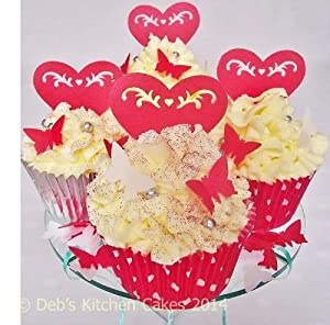 Heart Cake Decorations Uk : Red Heart Cake Decorations Edible Wafer Stand Up Hearts ...