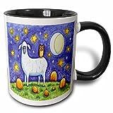 3dRose mug_159518_4 Whimsical Sheep and Owl Halloween Scene Two Tone Black Mug, 11 oz, Black/White