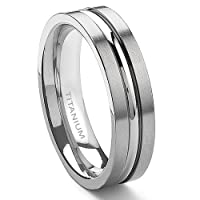 Titanium 6mm Ribbed Men's Ring