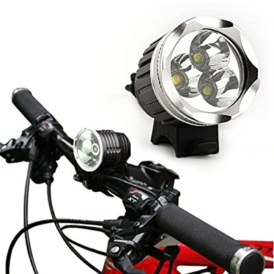 Amzdeal® 3x Cree XML T6 Premium LED Bike Light Front Mount Headlight - Use for Any Bike / Street / Mountain or Children's - Attaches Easily - No Tools Required( Waterproof -Great Safety - Emergency Feature) promo code 2015