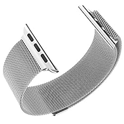 Hoco Watch Band with Magnet Lock Pinhen Milanese Loop Stainless Steel Bracelet Smart Watch Strap for Iwatch Apple Watch Band(milanese 38mm Silver)
