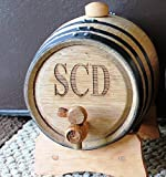 Personalized 3 Liter Oak Beverage Dispensing Barrel - Groomsmen Wedding Party Father's Day Gifts - Custom Monogrammed Engraved for Free