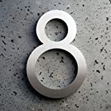 Modern House Number Aluminum Modern Font Number Eight 8 - 8 inch