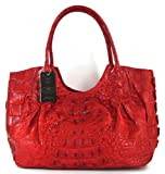100% HORNBACK SKIN GENUINE CROCODILE LEATHER HANDBAG BAG TOTE HOBO LARGE SOFT&SHINY RED NEW EMS SHIPPING @ Genuineshop