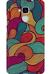 AMEZ designer printed 3d premium high quality back case cover for Huawei Honor 5C (abstract curves)