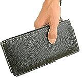 長財布 ブラック 財布 メンズ 白 ステッチ PU レザー カジュアル & ビジネス お洒落 ストラップ ファスナー