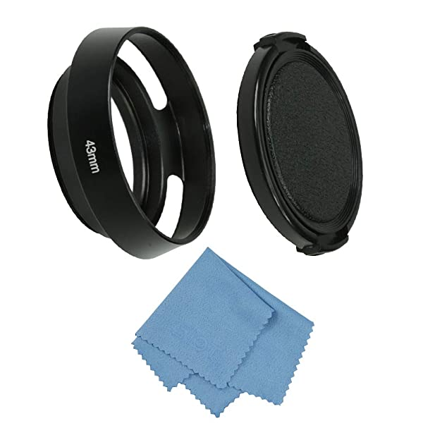 SIOTI Camera Standard Hollow Vented Metal Lens Hood with Cleaning Cloth and Lens Cap Compatible with Leica/Fuji/Nikon/Canon/Samsung Standard Thread Lens (Color: Standard Vented, Tamaño: 43mm)