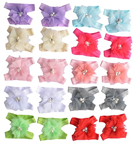 Qandsweet Baby Girl's Barefoots Sandals Flower (10pack) (10 Pairs Chiffon) - 1