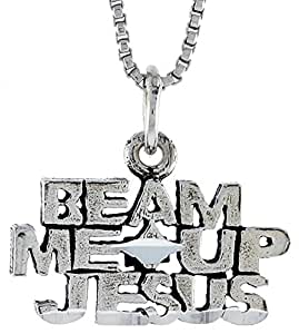Sterling Silver BEAM ME UP JESUS Word Necklace on an 18 inch Box Chain