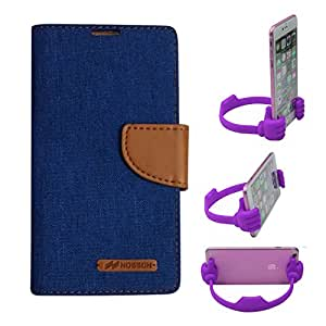 Aart Fancy Wallet Dairy Jeans Flip Case Cover for LenovoA-6000 (Blue) + Flexible Portable Mount Cradle Thumb OK Designed Stand Holder By Aart Store.