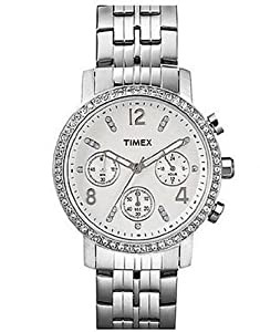 Timex Womens Dress Classics Crystal Accented Chronograph Stainless Steel Bracelet Watch T2P009