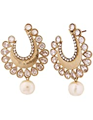 The Jewelbox Chaand Bali Antique Gold Plated Kundan Polki Pearl Earring For Women