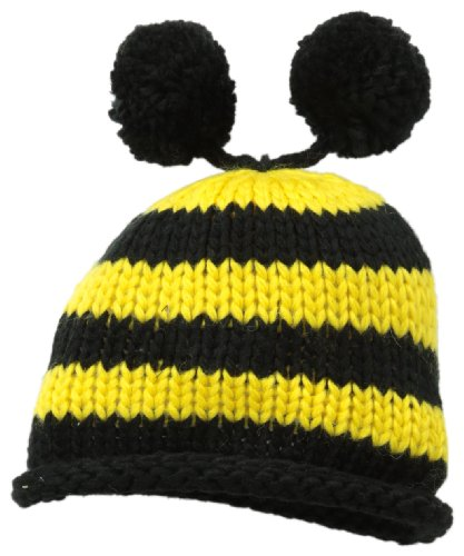 Mud Pie Unisex-Baby Newborn Bee Knit Hat, Black/Yellow, 0-3 Months front-585094