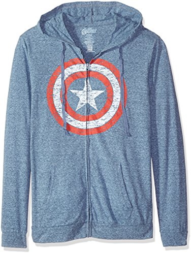 Marvel Men's Captain America Sheild Logo Light Weight Jersey Hoodie, Navy Heather, Small (Captain America Hoodies For Men compare prices)