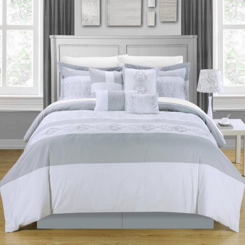 Chic Home Province 12-Piece Comforter Set, King, Sage front-1022325