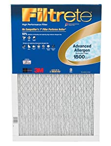3M Filtrete 6-Pack Advanced Allergen Reduction Filters, 1500 MERV, 20 by 25 by 1