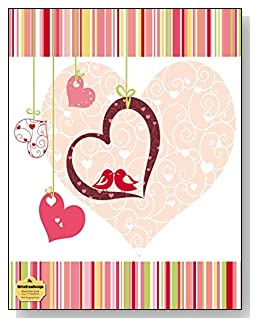 Pink Hanging Hearts Notebook - Hanging hearts and two lovebirds are the main attraction of the dark pink and complementary color theme of the cover of this blank and wide ruled notebook with blank pages on the left and lined pages on the right.