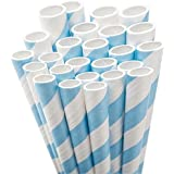 Aardvark Paper Straws Unwrapped Jumbo Straw, 7.75-Inch, Light Blue and White Striped, 50-Pack