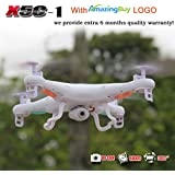 Amazingbuy - Syma X5C-1 2.4Ghz 6-Axis Gyro RC Quadcopter Drone UAV RTF UFO with HD Camera - New Updated Upgraded Version X5C-1 Smaller Packing Orginal Box - 4 additional Propellers + 4GB Memory Card + Card Reader + 3 Batteries + 4 In 1 Battery Charger + Tracking Number