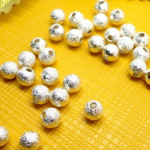 100pcs Spacer Beads Findings Stardust Silver Plated Base Round 4mm for Jewelry Making Picture