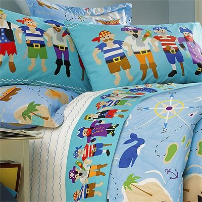Olive Kids Pirates Cotton Printed Sheet Set, Twin front-998917
