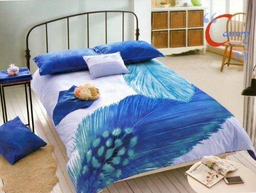 Queen Size 100% Cotton 4-Pieces Big Blue Peacock Geather White Prints Duvet Cover Set/Bed Linens/Bed Sheet Sets/Bedclothes/Bedding Sets/Bed Sets/Bed Covers/5-Pieces Comforter Sets (4) front-1018187