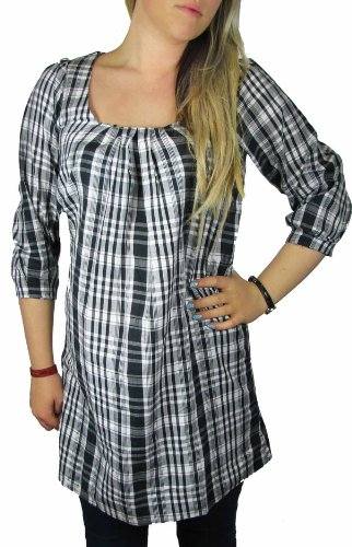 Ladies Black and White Check Dress or Long Tunic for Women