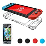 Nintendo Switch Case ,Vorida Hard Back Cover Case Anti-Scratch Crystal Protector Shock-Absorption Bumper Tempered Glass Screen Protector Joy Con Grip For Nintendo Switch Clear