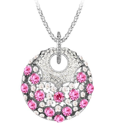 Purplelan-Fashion Jewlery Studded With Swarovski Element Crystal Stones Magical Rose Necklace 8524
