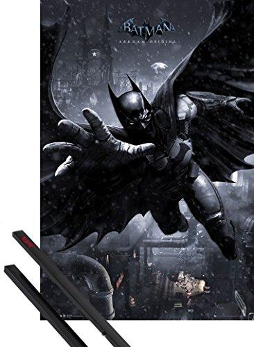 Poster + Sospensione : Batman Poster Stampa (91x61 cm) Arkham Origins, Batman Swing e Coppia di barre porta poster nere 1art1®