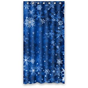snowflake shower curtain 36 x 72 with 7 holes home kitchen. Black Bedroom Furniture Sets. Home Design Ideas