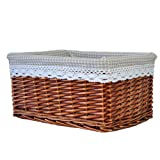 RURALITY Willow Wicker Storage Basket with Lining, Brown?Large