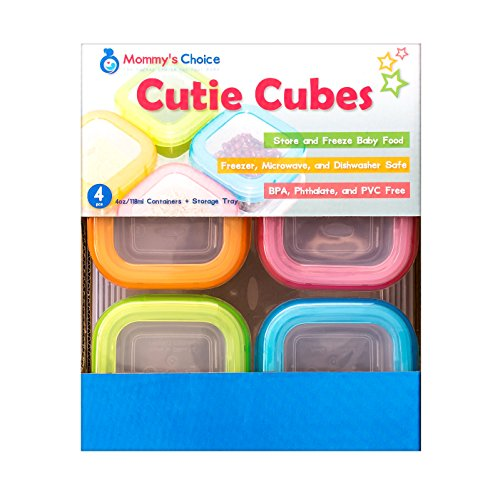 Mommy's Choice Cutie Cubes: Baby Food Storage Container with Freezer Tray (Organic Baby Food Glass Jars compare prices)