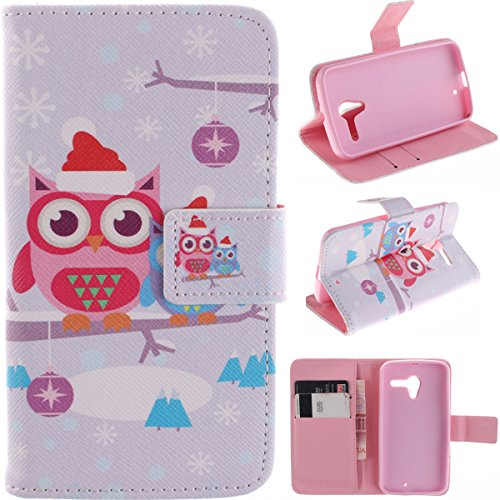 Moto X Case, Motorola X Case Gift_Source [Slim Fit] Folio Leather Stand [Wallet] Shell Cover With Card Holder Compatible With Motorola Moto X [Red Owl Mother And Child Pattern] ,Sent Screen Protector + Stylus Pen