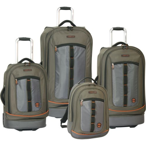 Timberland Luggage Jay Peak Four Piece Set, Burnt Olive, One Size best deal