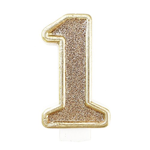Birthday Party Sparkling Chic Glitter Number Cake Candle (1, Champagne Gold) (Gold Birthday Candle Number compare prices)