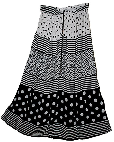 jnb-garments-falda-para-mujer-de-color-printed-negro-and-blanco-de-talla-one-size