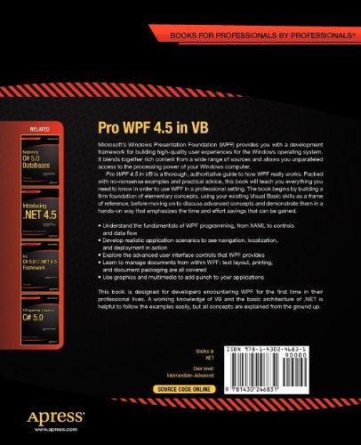 Pro Wpf 4.5 in VB: Windows Presentation Foundation in .Net 4.5 (Professional Apress)