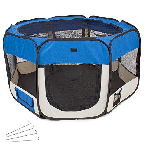 Artikelbild: TecTake Welpenlaufstall Tierlaufstall blau für Kleintiere wie Hunde, Hasen, Katzen blau