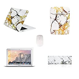 TOP CASE - 5 in 1 Bundle Deal Air 13-Inch Marble Pattern Hard Case, Keyboard Cover, Screen Protector, Sleeve Bag and Mouse for MacBook Air 13\
