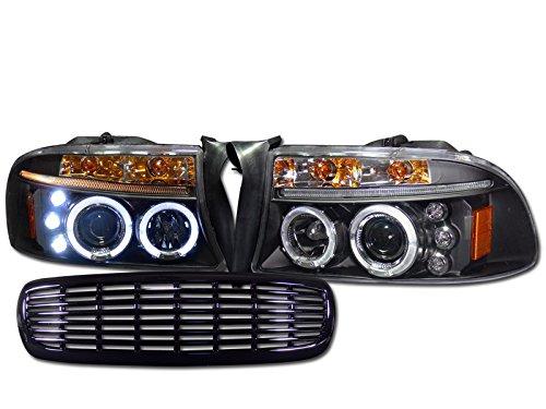 BLACK HALO LED PROJECTOR HEAD LIGHTS+FRONT GRILL GRILLE 1997-2004 DAKOTA/DURANGO (1998 Dodge Dakota Grill compare prices)