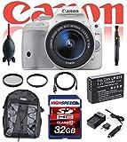 Canon EOS Rebel SL1 Digital SLR with 18-55mm STM Lens (White) w/ Deluxe Kit