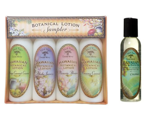 Island Soap&Candle Works トロピカルローション 4本セット&アロマティックオイル ココナッツ